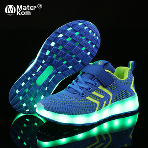 Size 25-37 USB Charger Glowing LED Children Lighting Luminous Sneakers for Boys&Girls Illuminated Lighted Shoes Q1123