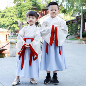 Chinese Ancient Traditional New Clothing Set for Kid Boy Girl Long Sleeve Folk Dance Embroidery Hanfu Performance Dress