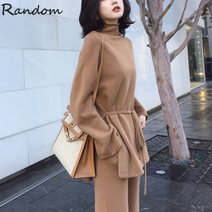 2021 Otoño Invierno Punto Turtime Sweater 2 Piezas Set Tritsuits Mujer Suéter Top y Pantalones Cálidos Cashmere Grande PLUS PLUS