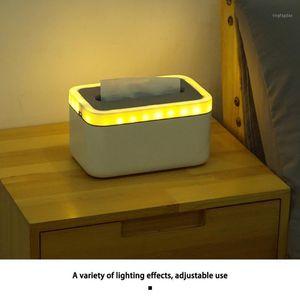 Tissue Box With Night Light Home Kitchen Bedroom Plastic Tissue Box Car Napkins Holder Case Home Organizer Decoration Tools1