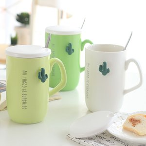 Cactus Relief Ceramic Cup Romantic Simplicity Coffee Mugs Originality Smooth Tumbler Stainless Steel Spoon High Capacity Hot sale 8 2msb1