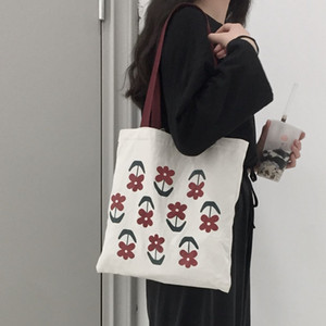 Large Capacity Ladies Reusable Shopping Bag Elegant Flower Women Canvas Bag Fashion Girls Student Book Shoulder Bags Casual Tote 9D9S