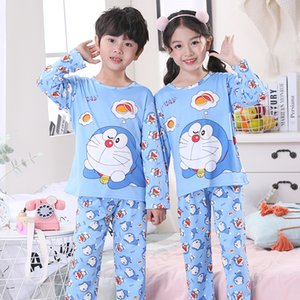 New Spring Autumn Children Cute Pajamas Thin Carton Unisex Sleepwear Girls Loungewear Kids Pyjamas Boy Set Summer Nightwear Suit Q1203