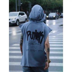 Hip Hop Smile Print Tank Tops Slim fit Vest singlets Bodybuilding tank shirt Men Casual Summer High Street Hooded Tops