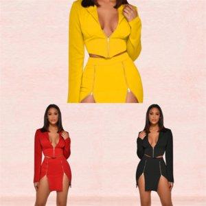 Z71R Twooets Fashion Imprimé Femmes Sexy Streetwear Pie Pie Robe De Pal Robe De Back Holdess Automne Sexy Deux Top and Maxi Dress Party Vêtements