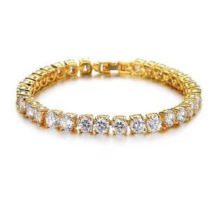 2020 New Iced Out Tennis Bracelet Zirconia Triple Lock Hiphop Jewelry 1 Row Drill Luxury Men Bracelets