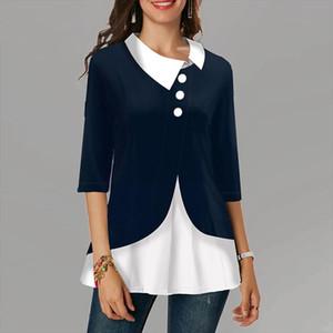 Patchwork Plus Size Womens Shirt Vintage Mid Sleeve Button Female Tops Women Irregular Cotton Turn Down Collar Blouse Women