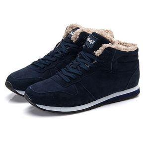 Marke Männer Warme Winter Schnee Stiefeletten für Herren Sneakers Schwarz Paar Schuhe Botas Hombre Plus Größe Y200915