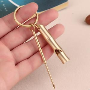 اليد محفور ملعقة اليدوية النحاس النحاس سكوب الأذن راكر مفتاح سلسلة قلادة