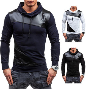 Men's Sweater Autumn Leather Patchwork Round Neck Scarf Sweatshirt Personality Slimming Breathable Men New Pullover Jacket