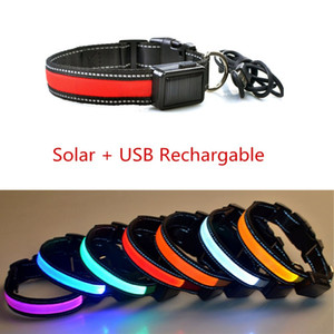 N25 New design Pet LED Collar Solar & USB rechargeable Nylon Pet Dog Collar Solar Glowing Light emitting collar adjustable Z1127