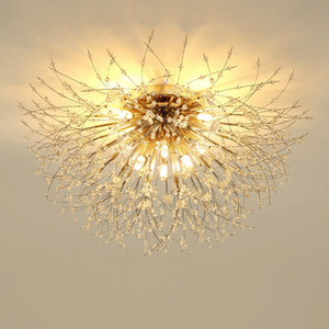 Romantic Hotel Bedroom Crystal Lamp Creative Living Room Crystal Light Fixtures Nordic led Dandelion Ceiling Lamp Net Red Ceiling Lighting