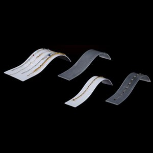 Persplax Collar Pantalla Soporte Exquisito Curvado blanco Acrílico Joyería de acrílico Pulsera Colgante Colgante Collar Pantallas para escaparate de la tienda