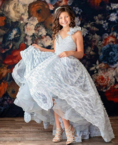 Silver Lace 2020 Flower Girl Dresses Ball Gown Hi-Lo Little Girl Wedding Dresses Cheap Communion Pageant Dresses Gowns