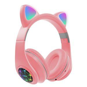 Cat Ear Bluetooth 5.0 inpods Headphones LED Flash Light Girls Kids Cute Headset gamer Support Card Wireless Headphones popstock Y1120