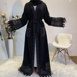 CM1839 Женщины Длинные Maxi Открытое Платье Кардиган Ближнего Востока Мода Новый Бисер Сшивание Кружева Кружева Карманный Арабский Мусульманский Кардиган Роб Abaya