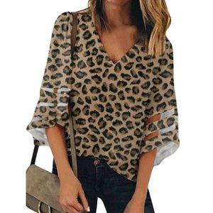 Leopard Imprimir Tops Mulheres Sexy 3/4 Mangas de Bell Painel de Malha Moda Deep V-Neck Blusa Solta Feminino Chiffon Camisas Personalizado