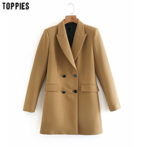 Toppies 2020 women blazers double breasted suit jacket ladies slim long coat solid color outwear F1207