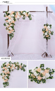 2020 Hessian Rustic Wedding stage backdrops wall decoration artificial flower row Arch silk rose peony plant flowers wall