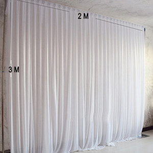 2M width x 3M height white wedding backdrop photography party curtain for event decoration