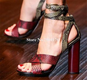 High Quality Women Fashion Open Toe Snake Leather Chunky Heel Sandals Ankle Wrap Straps Thick High Heel Sandals Dress Heels