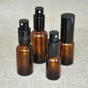 10 teile / los Spritzkappe Glasflaschen braun Nachfüllbar leer für Make up Parfüm Zerstäuberlotion Nebelspritze