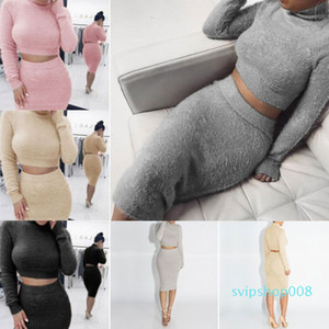 Autumn   Winter 2 Piece Set Women O Neck Long Sleeve Casual Sweater Knit Skirt Elegant Lady 5 Color Two Piece Set Warm Clothing