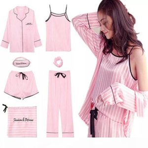 Pink Striped Pajamas Silk Satin Femme Pajama Set 7 Pieces Stitch lingerie Robe pyjamas Women Sleepwear pjs SH190905