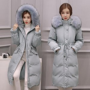 Raccoon dog fur collar fashion slim waist white duck down jackets women thick warm winter down coats 2020 new autumn
