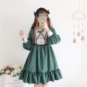 2020 Tea Party Women Vintage Lolita Dess Girl Long Sleeve Green Lolita Dress Gothic Lolita Cosplay Lace Dress Maid Costumes Y187 F1130