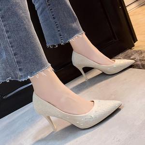 New Pointed Toe High Heels Shoes Sexy Mature Female Fashion Advanced Luxury Rhinestone Dress Slip-On Office Women Pumps W37-03