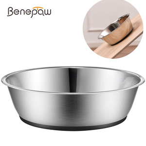 Benepaw Anti Skid Stainless Steel Dog Bowl Water Food With Silicone Mat No Spill Durable Nontoxic Pet Feeder Puppy Drinking Q1224