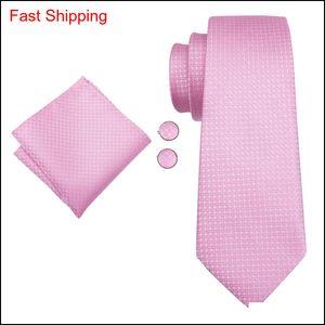 Hi-tie New Arrival 100% Silk Necktie For Men Casual Fashion Style Hanky Cufflinks Set Pink Ties Men Suit W qylQYl new_dhbest
