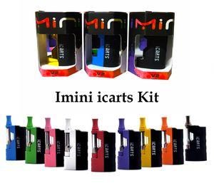 Original icarts v2 imini v2 versão atualizada kits starter kits 650mAh pré-aquecer a bateria Mod completo kit com cartuchos de Vape 1.0ml para Óleo grosso