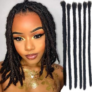 Handmade Dreadlocks Extensions Afro Kinky Human Hair Black Fashion Crochet Braiding Hair For Women And Men Diameter (Black 10 stands)