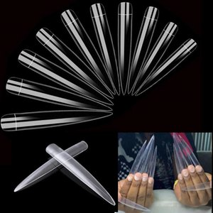 Makar10Packs X 12pcs XXL Extra Long Stiletto Super Cusp French Long Salon Nail Tips Clear Color A0066