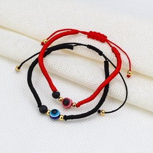 Wish Card New 1PC Black Red Evil Eye Beads Charm Bracelet for Couples Adjustable Woven Bracelet Fashion Braided Jewelry BE751