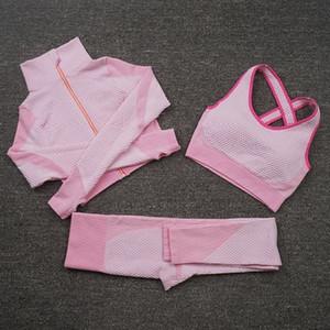 Tracksuits Designer Womens Yoga Costume Gym Sportswear pour femme Fitness Sport 3pcs Bra Coat Leggings Tenue de sport Ensemble d'entraînement en plein air Mode Long Pant Tech Veste