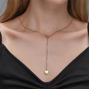 Moda Simple Heart Pendant Collanes Metallo Hollow Out Clavicle Cross Catene per le donne Valentine's Day Love Collana gioielli