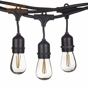 VNL IP65 15M 15Bulbs LED S14 String Lights E27 LED Retro Edison Filament Bulb Outdoor Garden Patio Holiday Wedding Light String Q1127 Q1128