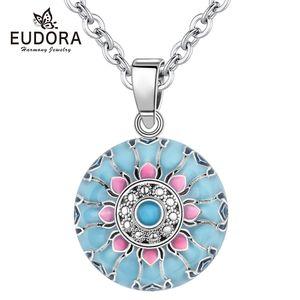 Eudora Blue Pink Lotus Harmony ball necklace Music Mexican Ball for Baby Mom Maternity Jewelry spiritual yoga Elegant Pendant Y1130
