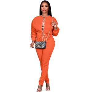 Women Tracksuits Autumn Long Sleeve Hollow Out Bandge Slim Two Pieces Sets Solid Color Casual Designer Woman 2PCS Outfits
