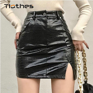 Streetwear Sexy PU Leather Skirt Women High Waist Slim Zipper Crocodile Pattern Skirts Womens Elegant Split Mini Skirts Casual