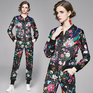 Casual Printed Jacket and Pant Womens Two Piece Set 2020 Autumn New Girl Sets High-end Fashion Coat Trouse Lady Suits