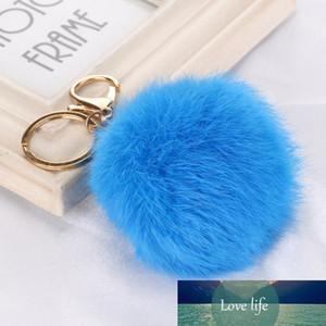 8cm Genuine Leather Ball Plush Key Chains Lapin Car Keyring Bag Pendant Keychain
