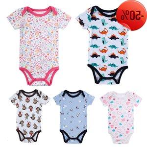 Yaz Bodysuit Onesie Pamuk Kısa Kollu Erkek Kız Pijama Giysileri Karikatür Baskı Bebek Bodysuits DS39