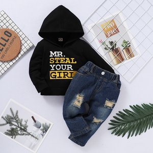 PatPat 2020 New Spring and Autumn Baby Boy Casual Letter Sets 0-2 Years Old Black Baby Boy Clothes Hoodies and Pants Y1113