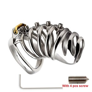 Latest Design Screw Squeeze Version Male Cock Cage With Curve Penis Ring Bondage Lock Stainless Steel Chastity Device Adult BDSM Sex Toy F50