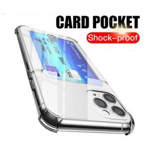 Titular de cartão Transparente Transparente TPU Gel Celulares Casos de Celeiro Provaproof Capa de Carteira antiderrapante para iPhone 12 Mini 11 Pro X XS Max XR 7 8 Plus