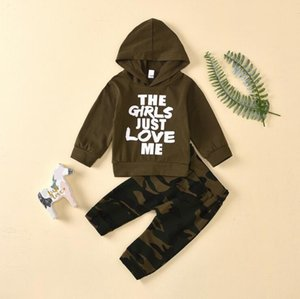 Baby Clothes Set Toddler Boys Sleeve Suit Letter Hooded Tops Camouflage Trousers Children Boy Tracksuit Kids Outfits Bodysuits DHC3628